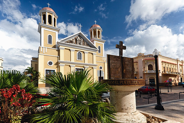 Low Angle View odf the Our Lady of the Candelaria Cathedral, Mayaguez, Puerto Rico