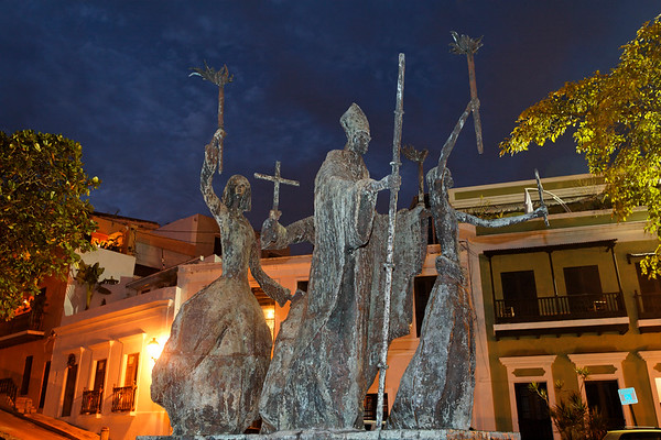 Low Angle View of a Sculpture with Torch Carrying Figures, La Rogativa, Old San Juan, Puerto Rico