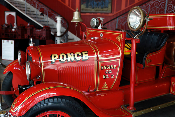 Close Up View of a Red Antique Fire Engine, Ponce Historic Firehouse Museum, Puerto Rico