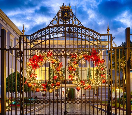 Gate with Holiday Decorations, La Fortaleza, Old San Juan, Puerto Rico