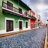 Cobblestone Street With Colorful Houses, San Juan, Puerto Rico
