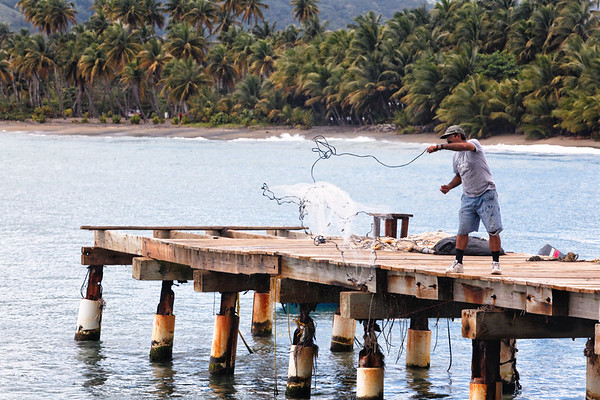 A Man Casting Fishing Net from a Pier, Maunabo, Puerto Rico