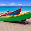 Brightly Painted Fishing Boats on a Caribbean Beach, Crash Boat Beach, Puerto Rico