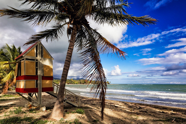 Arroyo Beach Scenic witha a Lifeguard Hut, Puerto Rico