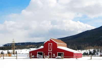 Bright Red Barn at Snow Mountain Ranch, Mid-Day