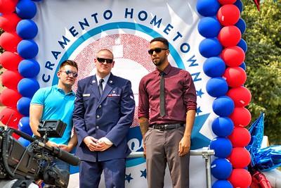 Alek Skarlatos (L-R), Spencer Stone and Anthony Sadler