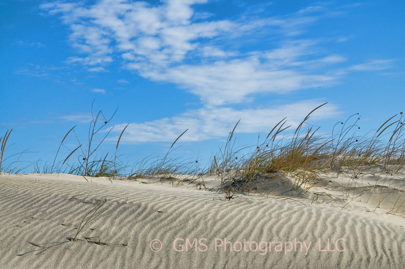 Curves in cloud pattern, dune grass and sand ridges are combined by nature to compliment each other.