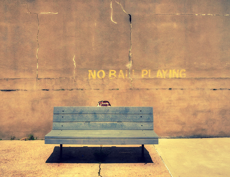 Empty Bench And Warning