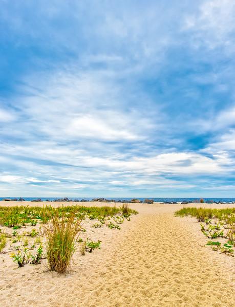 Steps Through Sand To Blue