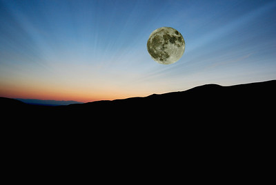 Super Moon over Great Sand Dunes, Overlay with Lightrays