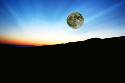 Super Moon over Great Sand Dunes, Overlay, with Lightrays & POW
