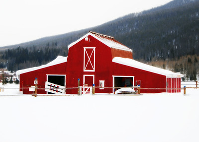Bright Red Barn at Snow Mountain Ranch