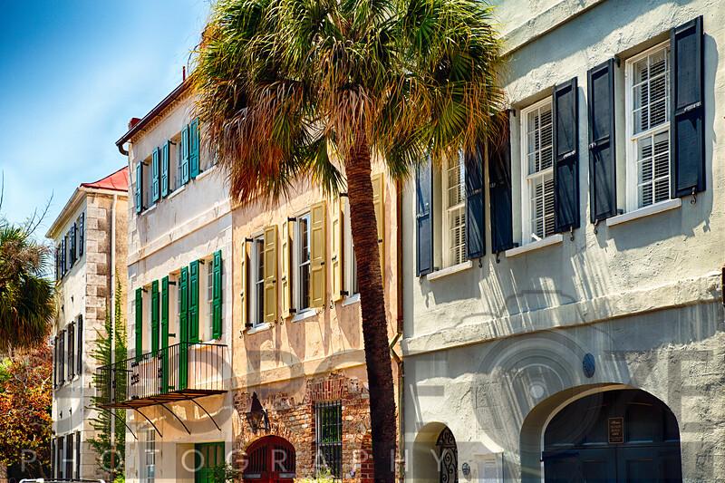 View of Colorful House Exteriors on Church Street, Charleston, South Carolina, USA