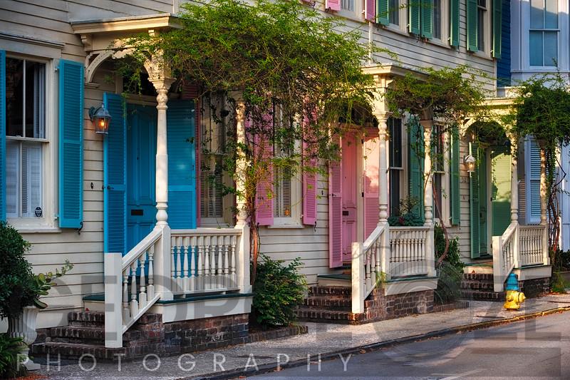Colorful Historic Houses, Savannah, Georgia