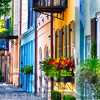 Row of Colorful Historic Houses, Rainbow Row, East Bay Street, Charleston, South Carolina