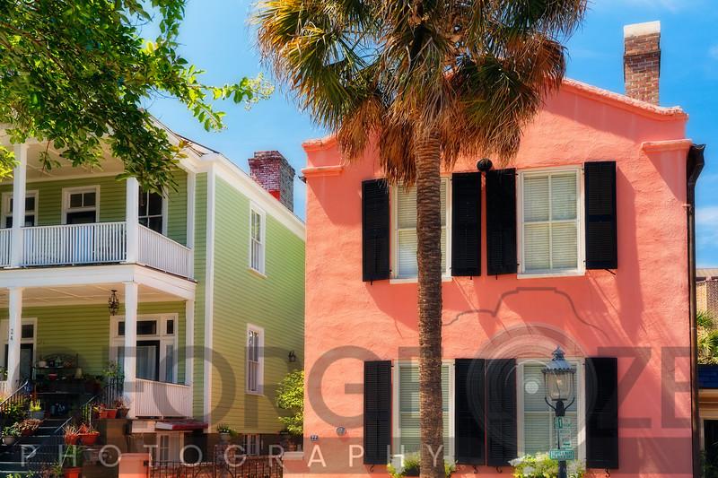 Colorful Houses of Church Street, Charlestion, South Carolina