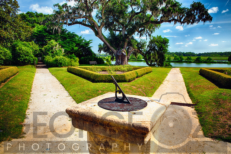 Sundial in Middleton Place Planation Garden, South Carolina