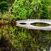 Reflection of aWhite Wooden Footbridge in a Lake, Magnolia Plantation, Charleston, South Carolina, USA