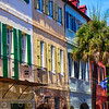 Colorful House Exteriors with a Flag, Charleston, South Carolina, USA