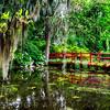 View of a Little Red Footbridge  Over a Pond, Magnolia Plantation, Charleston, South Carolina