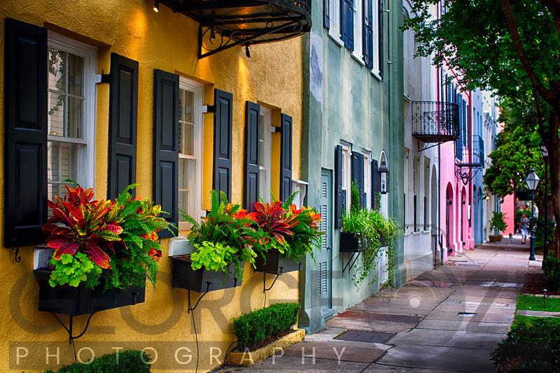 Colorful Houses of Rainbow Row, Charleston, South Carolina