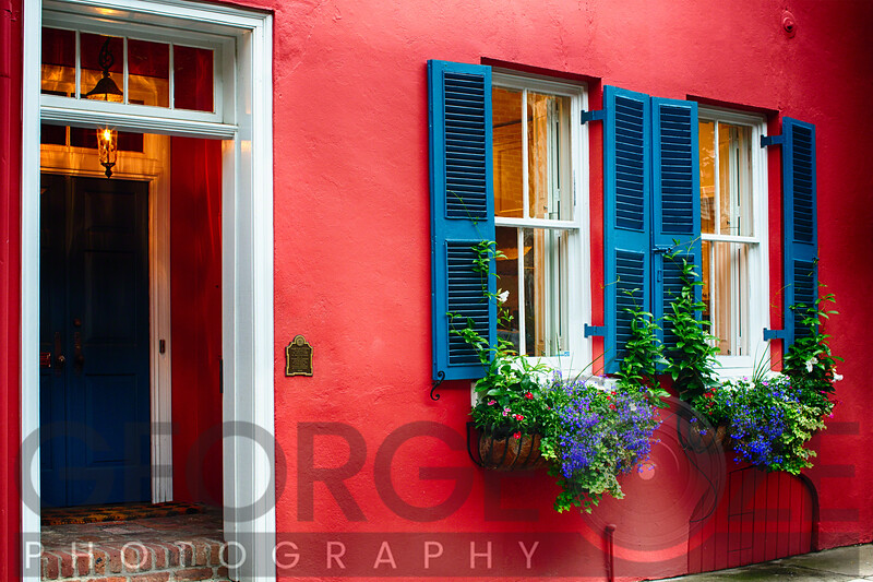 Colorful House Exterior Close Up View in the Historict District, Charleston, South Carolina
