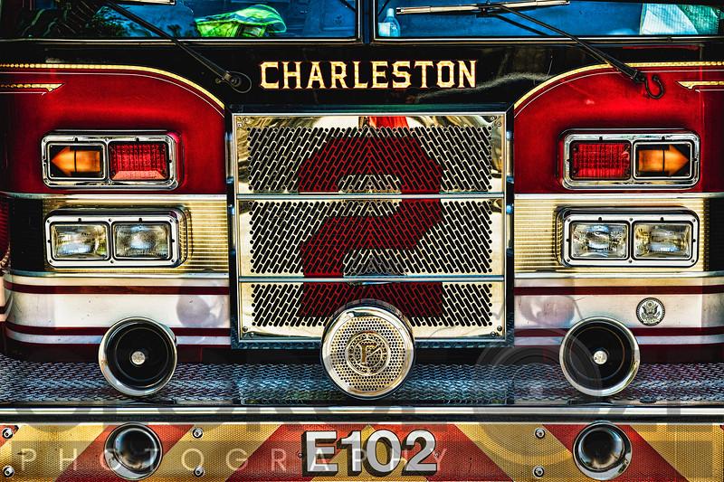 Charleston Fire Engine Front Close Up