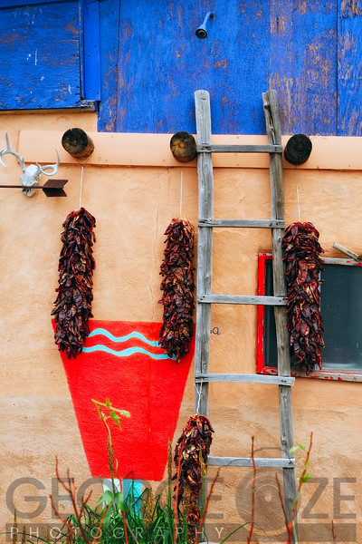 Wall of a House with Chile Ristras, Truchas, New Mexico