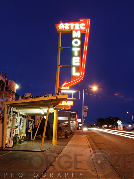 Neon Lights of the Aztec Motel, Rt 66, Albuquerque, New Mexico