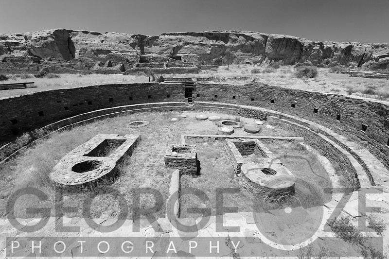Low Angle View of a Grand Kiva, Chaco Canyon, Chaco Canyon National Historic Site, New Mexico