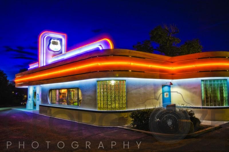 Neon Lit Route 66 Diner, Albuquerque, New Mexico