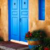 Close Up View of a Blue Door of an Adobe House, Ranchos De Taos, New Mexico
