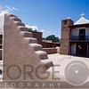 Side Front View of a n Adobe Church, Church of Taos Pueblo, New Mexico