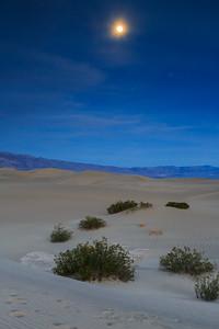 Moonrise Over Mesquite Sand Dunes