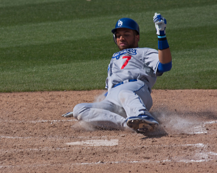 Dodgers #7 sliding into home base at Peoria Stadium at Spring Training against the Padres. March 26, 2011.