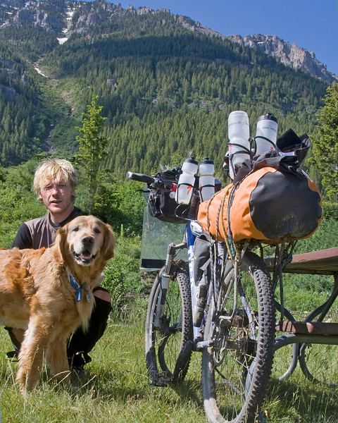 Michael from Basel Switzerland bicycling from Banff Canada to New Mexico/Mexican border on the Tour Divide trail, with my dog Reggie at Upper Red Rock Lakes Campground, Montana (in Red Rock Lakes National Wildlife Refuge). July 1, 2009