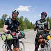 Jason Kosh and Rohan Freeman (right) on the old railroad tracks in Island Park, Idaho on their ITTD Individual Time Trial (ITT) Tour Divide race. I met them there to return a SPOT tracking device they had lost along the trail after stopping at RedRock RV Park.  Jason hails from Wethersfield, CT and Rohan from Rocky Hill, CT.   Rohan has just returned (in the last two weeks) from summiting Mt. Everest!