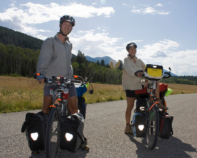 Dutch couple traveling from Anchorage, Alaska to Santigo, Chile via the Great Divide Mountain Bike Route in front of RedRock RV Park in Island Park, Idaho on September 1st, 2009. They left Alaska in May.