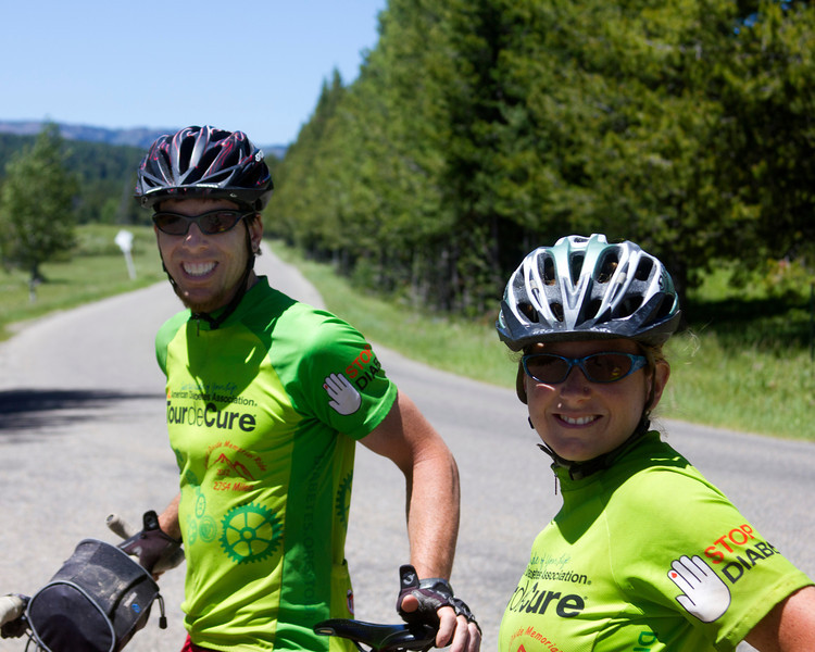 Doug and Jen Wenger on Red Rock Road on their quest to help cure Diabetes by riding the Tour Divide route from Banff, AB, Canada to the Mexican border. They are from New Hampshire and have been on the road 17 days so far. June 27, 2012.  They are not competing, just riding to complete (just???)