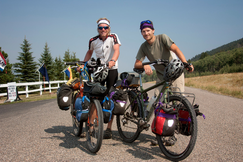 Sam Carlson (left) and Aaron Watson are traveling part of the Great Divide Bicycle Route on Red Rock Road in front of Red Rock RV Park, near Island Park, Idaho. They are currently on their way to Boulder, Colorado. August 12, 2012.