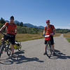 Andrew & Martyn Finn (brothers) riding the Great Divide Mountain Bike Route for charity (raising money for Cancer Research) on September 1, 2009 in front of RedRock RV Park in Island Park, Idaho.  They are from England.