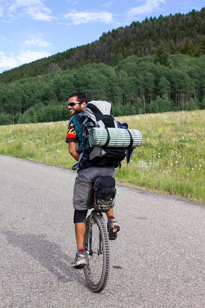 Benjamin Siress, of near Orlando, Florida is riding the Great Divide Mountain Bicycle Route (Tour Divide) on a unicycle from Banff to Antelope Springs, New Mexico at the Mexican/US border. He started about June 26 and a he has taken about 3 weeks to get here at mile 1008. July 16, 2012.