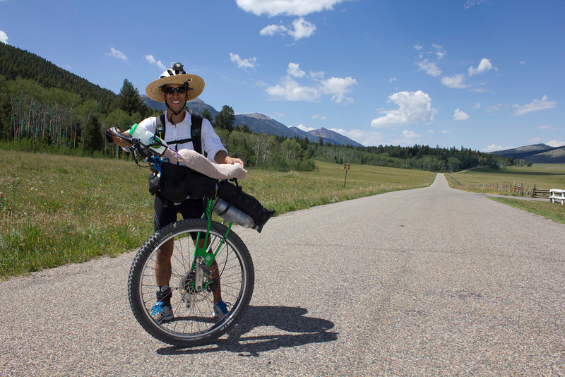 Gen Shimizu is riding the Great Divide Bicycle Route by Unicycle along Red Rock road to fight the practice of Human Trafficking.He left Banff, AB, Canada about June 26, and is on his way to Antelope Springs, NM at the Mexican border. What a great cause to bring attention to. July 26, 2012, Island Park, Idaho.