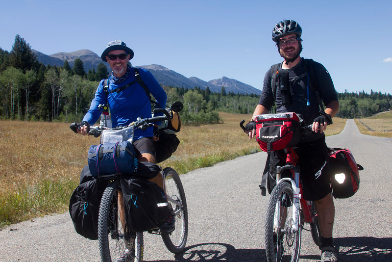 From left, Chris Wiltshire (English, but living in San Diego) and Matthew Shannon from Manchester, England are riding the Tour Divide from Banff. Aug 28, 2012. Chris is having to end his trek in Jackson, WY, but Matthew is hoping to reach the Mexican border.