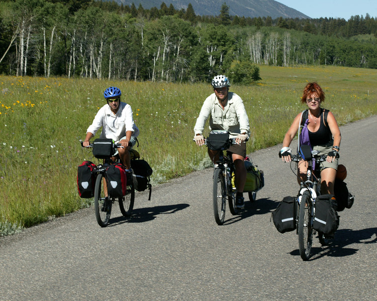 Bikers riding the National Bicycle Trail July 13, 2006 in front of Red Rock RV Park near Island Park, Idaho.