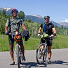 Rohan Freeman and Jason Kosh on July 7, 2009. Each are completing a Individual Timed Trial from Banff, Canada to the Mexican border on the Tour Divide Trail. Rohan started this trial immediately after completing a climb to the top of Mount Everest.