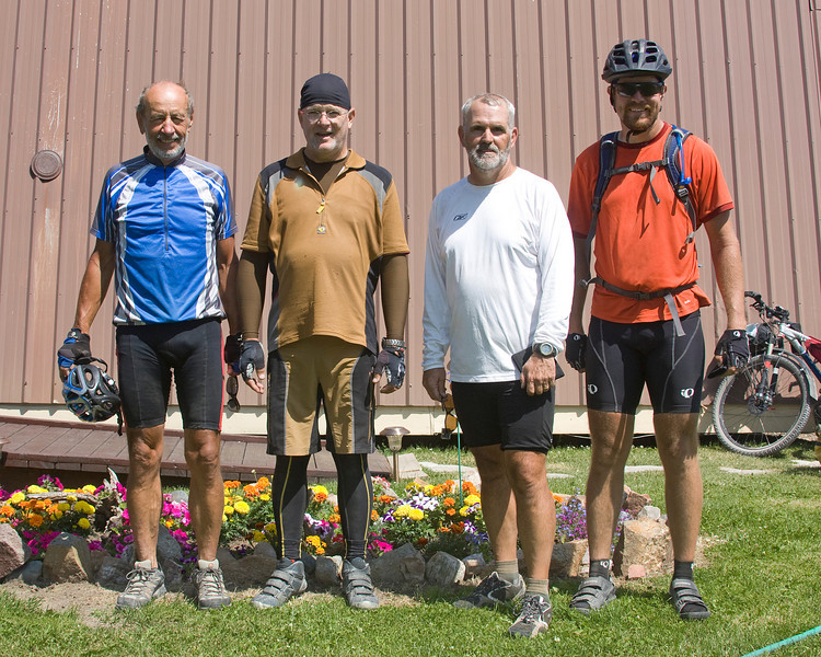 Group of bicylists from Austin, TX, Tucson, AZ, Weisbaden, Germany at a stop at RedRock RV Park, near the Great Divide Mountain Bike Route in Island Park, Idaho. July 28, 2008. On their way to Mexico. On left gentleman (Peter Stappmanns from Weisbaden, Germany is in the USA for the first time.)