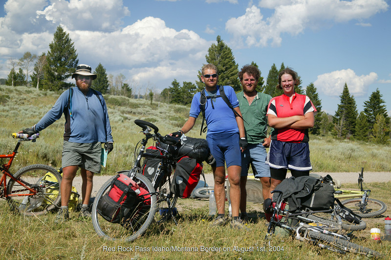 Resting after 2 months on trail from Mexican border  headed to Canadian border. At Red Rock Pass on Idaho/Montana border.  They are only competing with themselves. They are not part of any race.