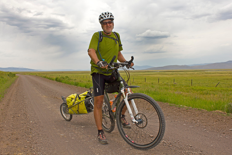 Brett Ferguson, 62, is from BC, Canada (a US Citizen) and he's taken the Tour Divide Route (Great Divide Bicycle Route). Along South Centennial Valley road near the Red Rock Lakes National Wildlife Refuge in Montana on July 13, 2012.