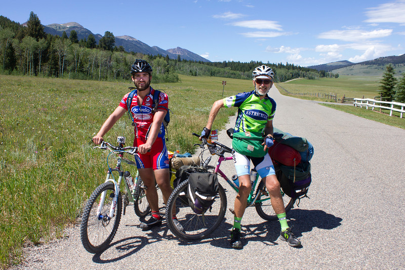 On the left is Klaas and the right is Martin Versluys. Son and Father are traveling part of the Great Divide (Tour Divide) Bicycle route. They are from near Charlottesville, North Carolina. Martin is 65 and Klaas is 25, just having graduated from college. July 20, 2012